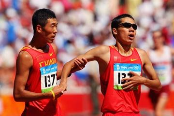 left to right - Chinese race walkers Wang Hao and Chu Yafei, who finished in the top 10 in Beijing (Getty Images)