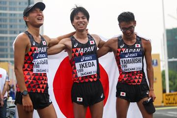 Japan's victorious 20km race walk team at the IAAF World Race Walking Team Championships Taicang 2018 (Getty Images)