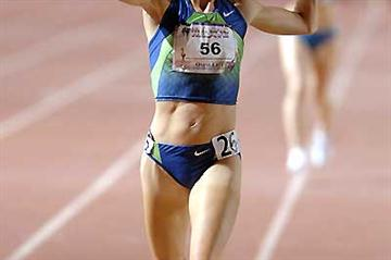 Shalane Flanagan wins the women's 5000m in an American record of 14:44.80 - MT SAC 2007 (Kirby Lee)