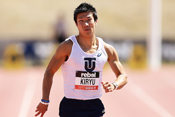 Yoshihide Kiryu in the 100m in Canberra (Getty Images)