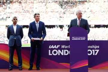 Right to left: HRH Prince Andrew, Duke of York, IAAF President Sebastian Coe and Mayor of London Sadiq Khan at Opening Night of the IAAF World Championships London 2017 (Getty Images)