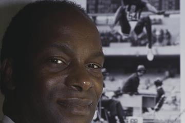 Bob Beamon next to his world record leap (Getty Images)