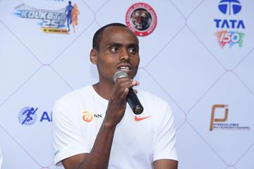 Birhanu Legese at the TSK25K 2018 press conference (Procamm International)
