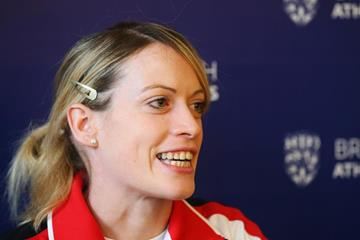 British 400m hurdler Eilidh Doyle speaks to the press (Getty Images)