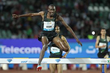 Benjamin Kigen on his way to winning the steeplechase at the IAAF Diamond League meeting in Rabat (Jean-Pierre Durand)