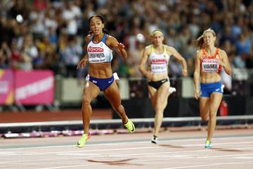 Katarina Johnson-Thompson in the heptathlon 200m at the IAAF World Championships London 2017 (Getty Images)