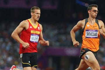 Hans Van Alphen (L) of Belgium and Eelco Sintnicolaas of Netherlands compete in the Men's Decathlon 1500m of the London 2012 Olympic Games on 9 August 2012 (Getty Images)
