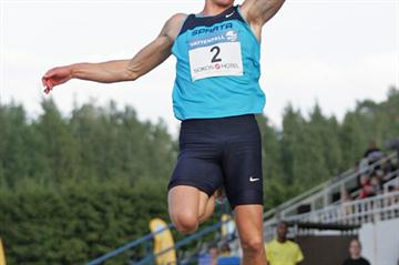 Morten Jensen of Denmark sails 8.21m in Espoo (Paula Noronen)