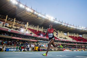 Caren Chebet wins the 2000m steeplechase at the IAAF World U18 Championships Nairobi 2017 (Getty Images)
