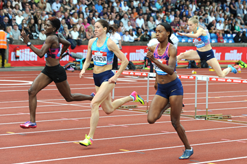 Zuzana Hejnova on her way to winning the 400m hurdles at the IAAF Diamond League meeting in Birmingham (Mark Shearman)