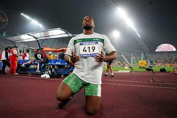 Sultan Mubarak Al-Hebshi gives thanks after winning the Shot at the Asian Games (Getty Images)