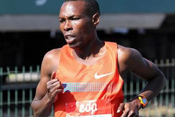 Kenyan distance runner Bedan Karoki on his way to victory (Andrew McClanahan / organisers)
