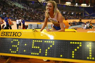 Yelena Soboleva with her world indoor 1500m record figures (Getty Images)
