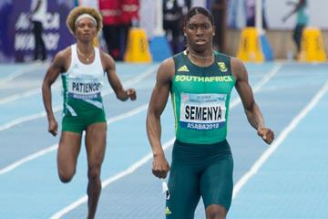 Caster Semenya en route to a 49.96 victory at the African Championships in Asaba (Bob Ramsak)