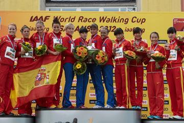 The women's team podium: Russia, Spain and China (Getty Images)