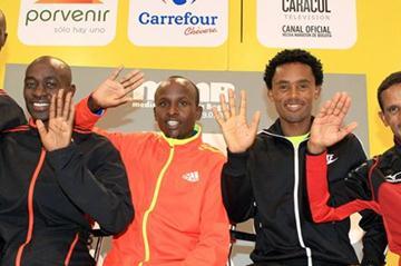 Wilson Chebet, Peter Kirui, Sammy Kitwara, Feyisa Lilesa, and Yemane Tsegay in Bogota (Victah Sailer)