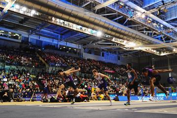 Action from the 60m hurdles at the World Indoor Tour meeting in Glasgow (Getty Images)