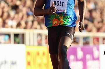 Bolt running the 100m in Stockholm's DN Galan - Samsung Diamond League (Getty Images)