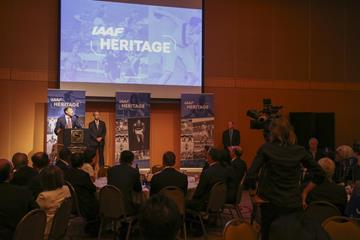 IAAF/LOC Dinner - World Athletics Heritage Plaque announcement, IAAF World Relays Yokohama 2019 (Roger Sedres for the IAAF)