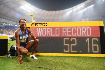A familiar siight: Dalilah Muhammad's second world record scoreboard of 2019 - IAAF World Championships Doha 2019 (Getty Images)