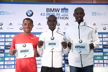Kenenisa Bekele, Emmanuel Mutai and Wilson Kipsang at the pre-race press conference in Berlin (Victah Sailer/organisers)