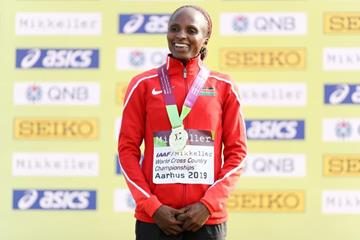 Senior women's winner Hellen Obiri at the IAAF/Mikkeller World Cross Country Championships Aarhus 2019 (Getty Images)