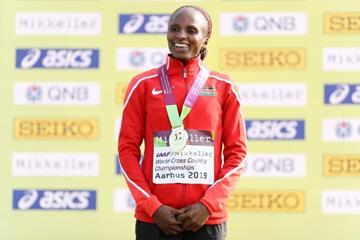 Senior women's winner Hellen Obiri at the IAAF/Mikkeller World Cross Country Championships Aarhus 2019 (Getty Images)