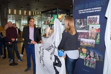 City's Culture Mayor Rabih Azad-Ahmad and Sara Slott Petersen unveil a cabinet at the opening ceremony of the IAAF Heritage XC Display in Aarhus (LOC)