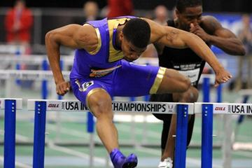 Terrence Trammell blazes to a 7.37sec victory in Boston (Kirby Lee)