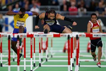 Pascal Martinot-Lagarde in the 60m hurdles at the IAAF World Indoor Championships Portland 2016 (Getty Images)