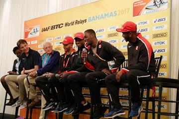 Members of the Canadian 4x100m relay squad join BAAA President and LOC CEO Rosamunde Carey, IAAF CEO Olivier Gers and LOC Chairman Keith Parker at the press conference ahead of the IAAF/BTC World Relays Bahamas 2017 (Getty Images)