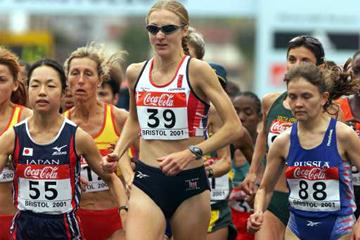 Paula Radcliffe in the pack (© Allsport)