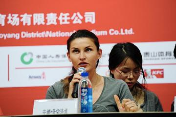 Anna Chicherova at the press conference ahead of the 2013 IAAF World Challenge meeting in Beijing (organisers)