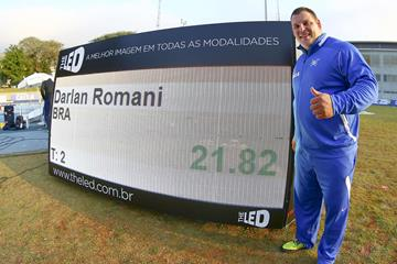 Darlan Romani with his South American record numbers in São Bernardo do Campo (Wagner Carmo/CBAt do GP Brasil)