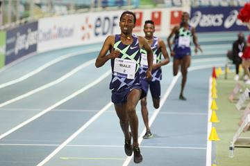 Getnet Wale wins the 3000m at the World Athletics Indoor Tour Gold meeting in Lievin (Jean-Pierre Durand)