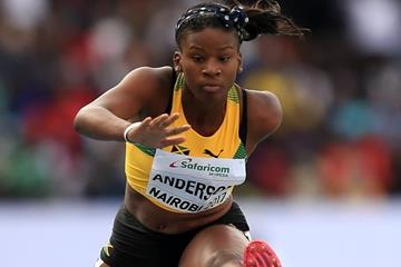 Britany Anderson on her way to winning the 100m hurdles at the IAAF World U18 Championships Nairobi 2017 (Getty Images)
