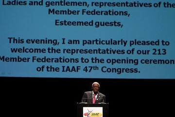 IAAF President Lamine Diack delivers his address at the Opening Ceremony for the 37th IAAF Congress in Berlin (Getty Images)