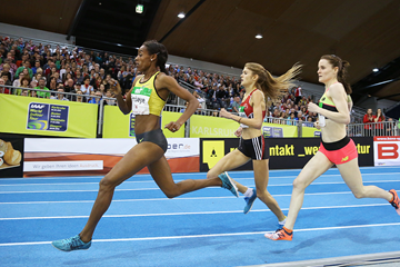 Axumawit Embaye on her way to winning the 1500m at the Indoor Meeting Karlsruhe (Jean-Pierre Durand)