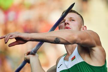 Vitali Zhuk of Belarus in the decathlon javelin (AFP / Getty Images)