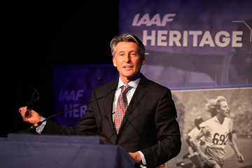 IAAF President Sebastian Coe speaking at the IAAF Heritage Legends Reception (Giancarlo Colombo)