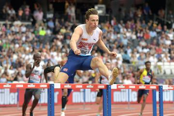 Karsten Warholm en route to his 47.12 European record in London (Kirby Lee)