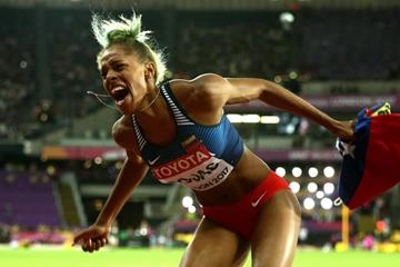 Yulimar Rojas celebrates her triple jump victory at the IAAF World Championships London 2017 (Getty Images)