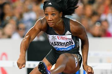 Kendra Harrison in the 100m hurdles at the 2016 IAAF Diamond League meeting in Lausanne (Gladys von der Laage)