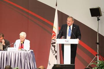 IAAF Senior Vice President Robert Hersh at the IAAF World Athletics Forum in Moscow (Getty Images)