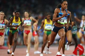 Sanya Richards sets off on anchor for the USA in the heats of the 4x400m relay (Getty Images)
