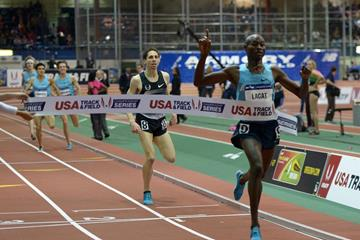 Bernard Lagat breaks US 2000m record at the 2014 Millrose Games (Kirby Lee)