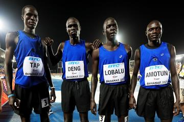The Athletes Refugee Team after competing in the men's 4x800m at the IAAF/BTC World Relays Bahamas 2017 (Getty Images)