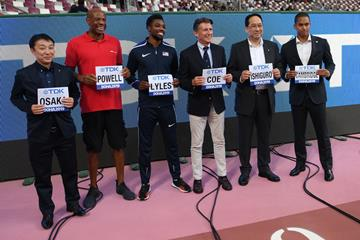 TDK Executive Vice President Seiji Osaka, long jump world record-holder Mike Powell, 200m world leader Noah Lyles, IAAF President Sebastian Coe, TDK President and CEO Shigenao Ishiguro and Olympic 4x100m silver medallist Aska Cambridge (Getty Images)
