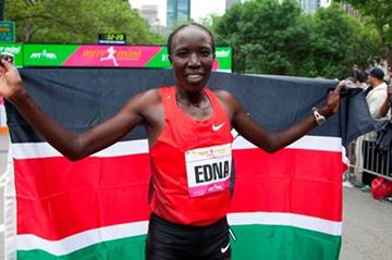 Edna Kiplagat after her New York 10K win (Courtesy NYRR)