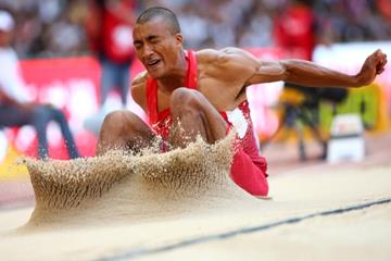 Ashton Eaton in the decathlon long jump at the IAAF World Championships, Beijing 2015 (Getty Images)